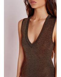 Missguided - Glitter Extreme Drop Front Bodysuit Black - Lyst