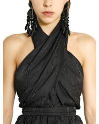 Balmain   Black Crystal Drop Earrings   Lyst