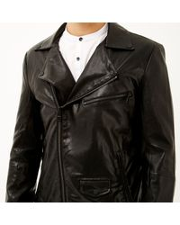 River Island - Black Leather-look Jacket for Men - Lyst