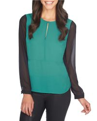 1.STATE | Green Split Neck Colorblocked Blouse | Lyst