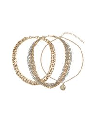 TOPSHOP | Metallic Chunky Three Row Chain Necklace | Lyst