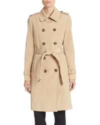 Calvin Klein - Natural Petite Double Breasted Belted Trench Coat - Lyst