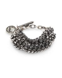 Giles & Brother | Metallic Crystal Cup Chain Bracelet/silvertone | Lyst