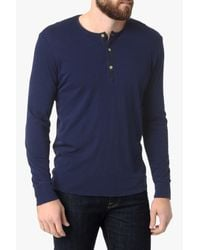 7 For All Mankind - Blue Long Sleeve Henley In Indigo for Men - Lyst