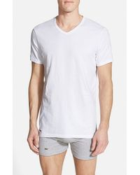 Lacoste - White 'colours' Stretch Cotton V-neck T-shirt, (2-pack) for Men - Lyst