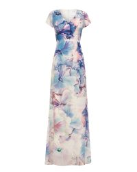 Almost Famous - Purple Artistic Floral Maxi Dress - Lyst