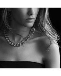 David Yurman - Metallic Curb Link Narrow Necklace with Diamonds - Lyst