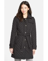 MICHAEL Michael Kors | Black Belted Quilted Coat With Detachable Hood | Lyst