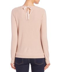 Rebecca Taylor - Pink Jewel-embellished Wool & Cashmere-blend Sweater - Lyst