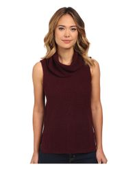 Two By Vince Camuto | Brown Sleeveless Travelling Waffle Stitch Turtleneck | Lyst