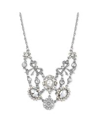 Betsey Johnson - Metallic Silvertone Crystal and Imitation Pearl Ornate Frontal Necklace - Lyst