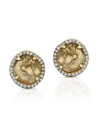 Anne Sisteron | 14kt Yellow Gold Diamond Slice Stud Earrings | Lyst