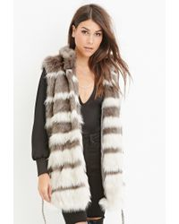Forever 21 - Gray Contemporary Striped Faux Fur Vest - Lyst