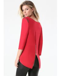 Bebe - Red Zip Dolman Top - Lyst