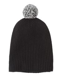Toast | Black Bobble Ribbed Beanie | Lyst