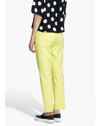 Mango - Yellow Stretch Cotton Trousers - Lyst