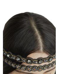 Deepa Gurnani - Black Crystal Embellished Headband - Lyst