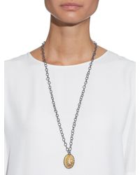 Bottega Veneta | Metallic Oxidised-silver And Yellow-gold Long Necklace | Lyst