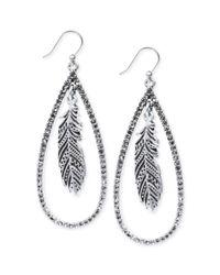 Lucky Brand - Metallic Silvertone Crystal Feather Teardrop Earrings - Lyst