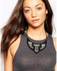 Pieces | Black Embellished Statement Necklace | Lyst