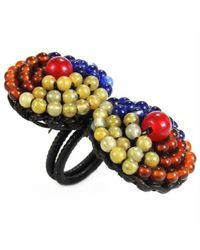 Aeravida - Multicolor Tribal Circle Duo Brass Amazonite Stone Adjustable Ring - Lyst