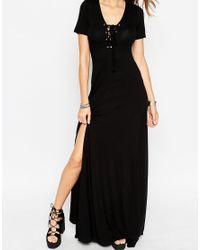 ASOS - Natural Lace Up Maxi Dress - Lyst