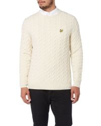 Lyle & Scott | White Cable Crew Neck Pull Over Jumper for Men | Lyst