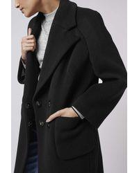 TOPSHOP   Black Textured Melton Car Coat By Boutique   Lyst