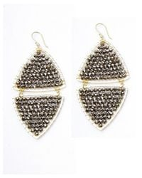 Nakamol | Gray Mirror Image Earrings-silver Crystal | Lyst