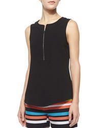 Trina Turk - Black Dextra Sleeveless Zip-front Knit Shirt - Lyst