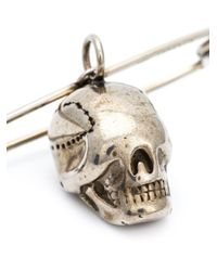 Givenchy | Metallic Safety Pin And Skull Brooch | Lyst