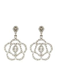 Oscar de la Renta | Metallic Swarovski Crystal Flower Clip-on Earrings | Lyst
