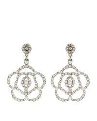 Oscar de la Renta - Metallic Swarovski Crystal Flower Clip-on Earrings - Lyst