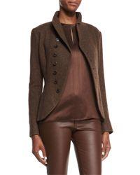 Ralph Lauren Black Label - Brown Long-sleeve Horn-button Jacket - Lyst