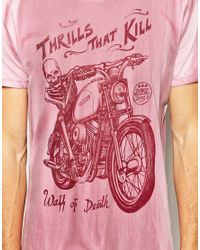 ASOS - Pink T-Shirt With Biker Print for Men - Lyst
