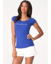 Bebe   Blue Double V-neck Logo Tee   Lyst