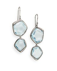 Ippolita - Metallic Diamond, Blue Topaz & Sterling Silver Earrings - Lyst