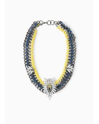 Mango - Blue Crystal Chain Necklace - Lyst