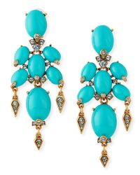 Oscar de la Renta | Blue Oval Cabochon Clip-On Earrings | Lyst