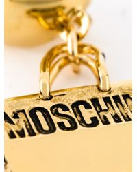 Moschino - Metallic Logo Plaque Earrings - Lyst