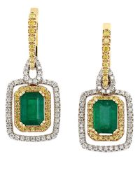 Effy | Green Brasilica Emerald, Diamond And 14K Yellow And White Gold Drop Earrings | Lyst