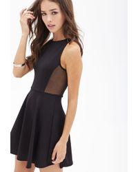Forever 21 - Black Scuba Knit Skater Dress - Lyst