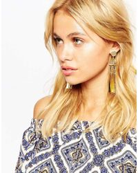 ASOS - Metallic Boho Flat Drop Earrings - Lyst
