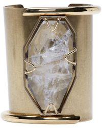 Lanvin | Metallic Brass And Crystal Asymmetric Cuff | Lyst