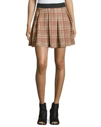 Romeo and Juliet Couture | Brown Plaid-print Pleated Skirt | Lyst