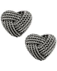 Betsey Johnson | Metallic Silver-tone Knotted Heart Stud Earrings | Lyst