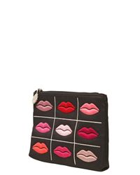 Lulu Guinness | Black Embroidered Lips Coin Purse | Lyst
