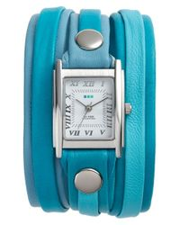 La Mer Collections - Blue Mixed Leather Wrap Watch - Lyst
