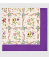 Gucci - Multicolor Silk Check Flower Print Scarf - Lyst