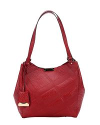 Burberry - Military Red Check Leather 'canterbury' Small Shoulder Bag - Lyst